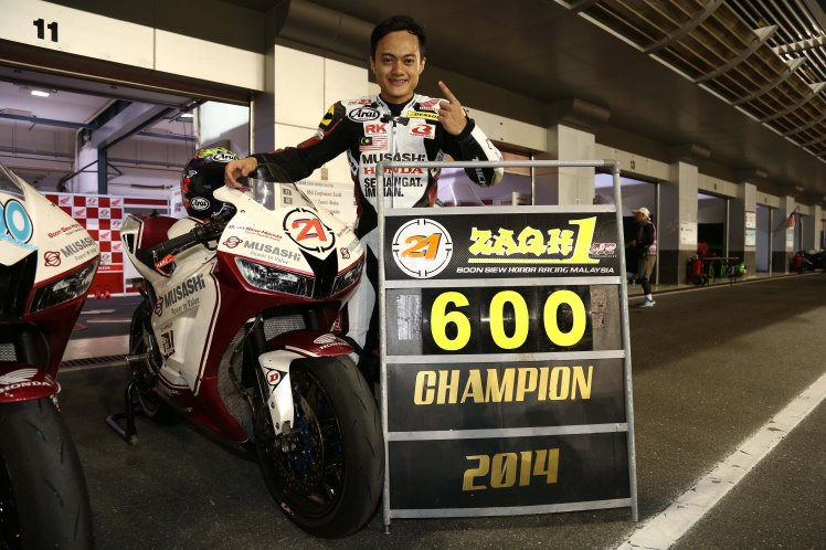Zaqhwan Zaidi won the 2014 SuperSports 600cc title in Qatar on Sunday