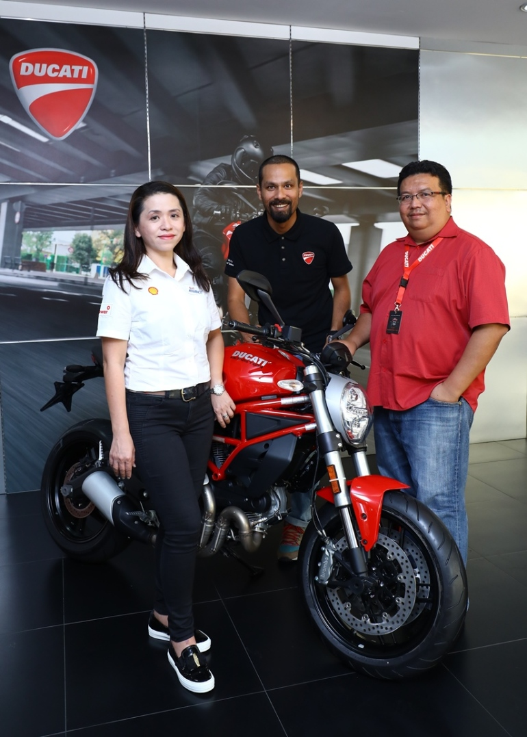 WIN A DUCATI MONSTER 797 (L-R) May Tan, David Lim and Fazli Hisham